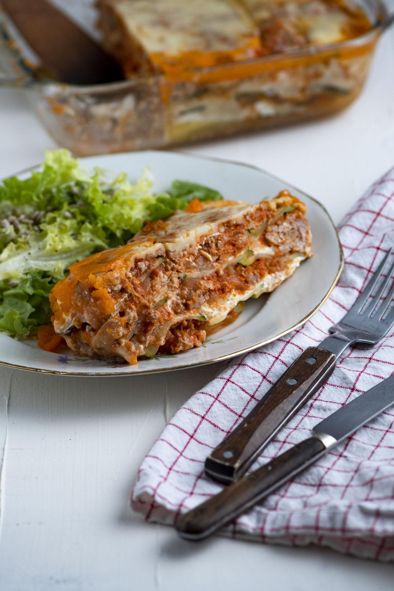 Lasagnes de courgettes, mascarpone et bolognaise